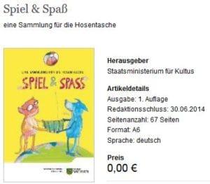 Kinderbuch Spiel und Spass vom Freistaat Sachsen